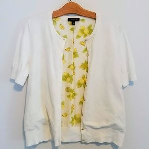 Ann Taylor Lemon Print Lined Short Sleeve Cardigan